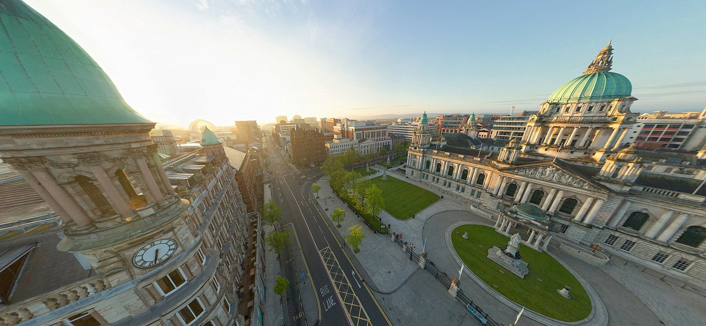 360 degree panorama of the Belfast city hall shot with a Microdrones UAV