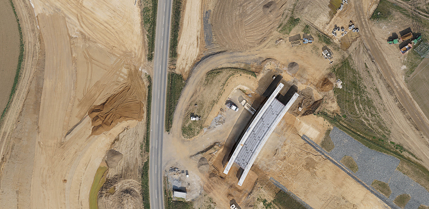 Orthophoto of a road construction site.