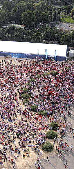 Aerial shot of a large crowd attending a Public Viewing event