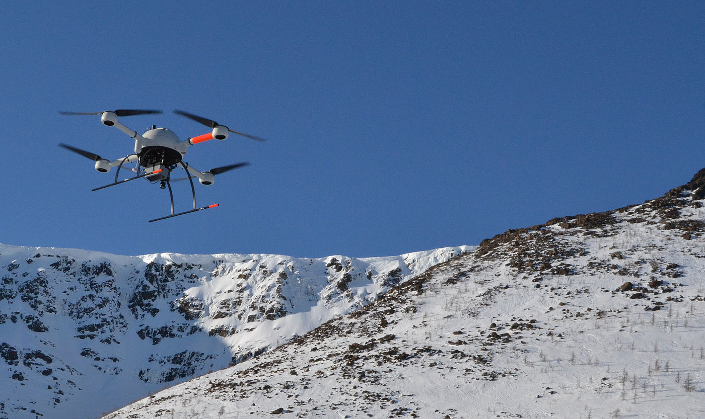 Microdrones md4-1000 UAV operating in low temperature environment.