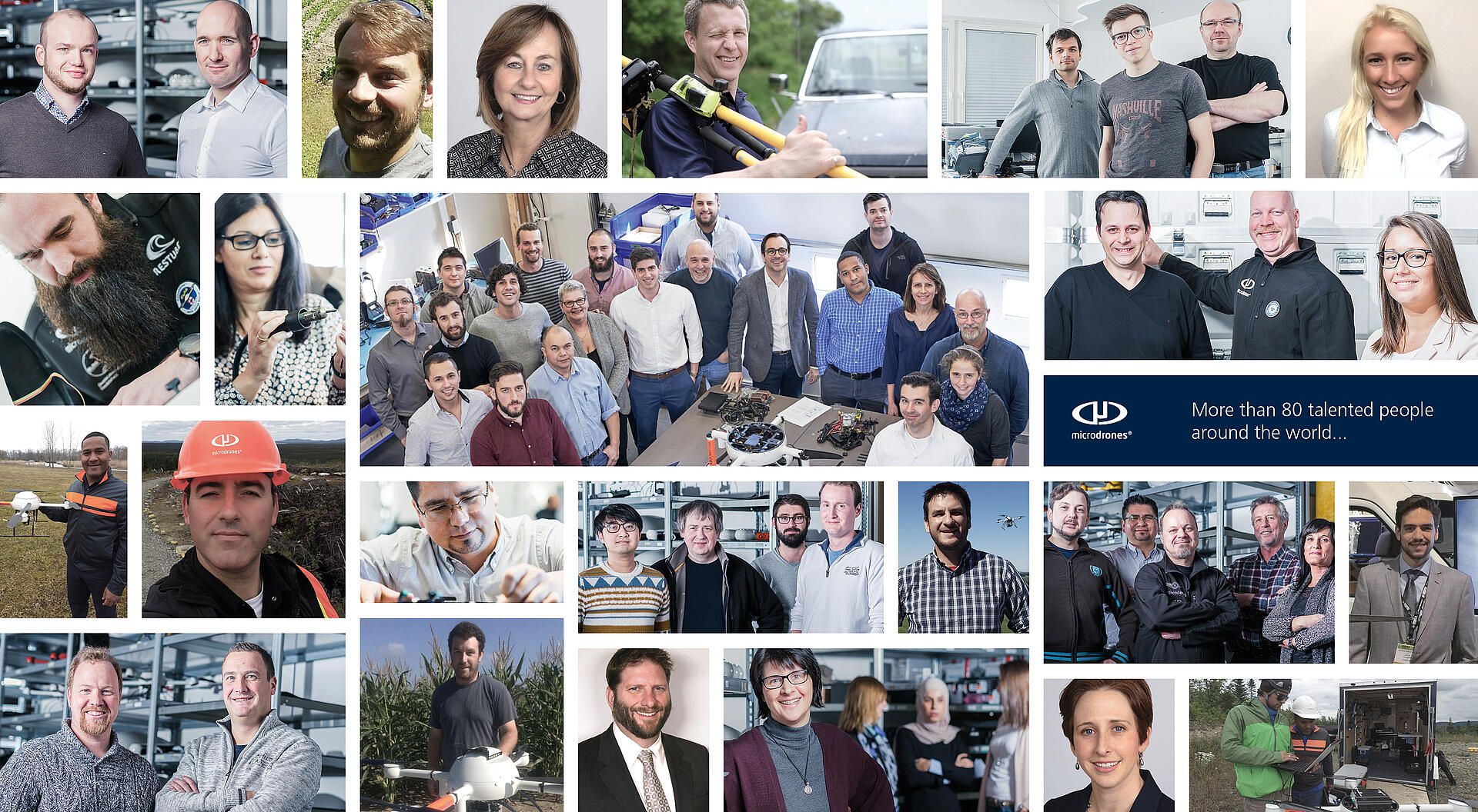 Collage with faces of Microdrones employees.