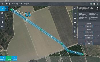 Microdrones mdCockpit tablet app screenshot waypoint planning