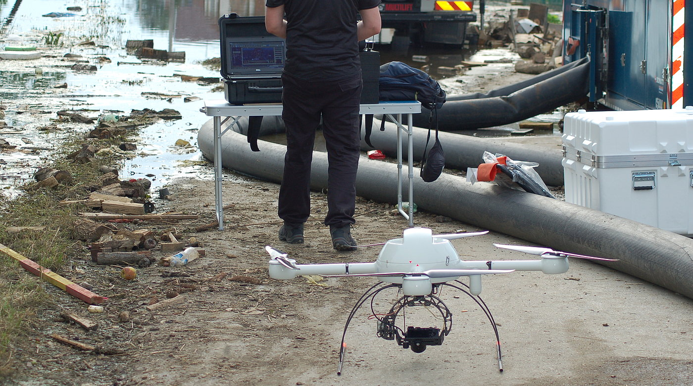 Belgian rescue teams deploy Microdrones md4-1000 UAVs in disaster area in Serbia and Bosnia and Herzegovina