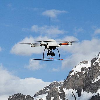 A Microdrones md4-1000 UAV crossing the Alps.