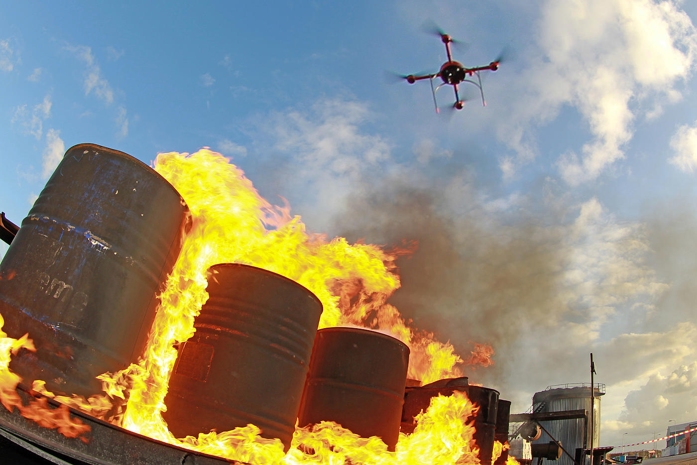 Microdrones quadcopter monitoring a fire during a fire drill