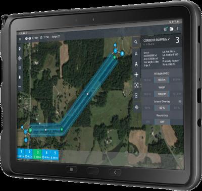 Microdrones mdCockpit app running on a Samsung tablet, top view.