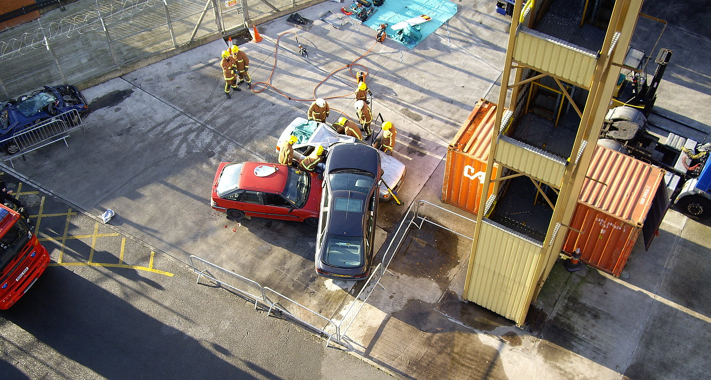 Aerial view of a rescue training event using a Microdrones UAV for providing a rescuers a better overview on the accident scene