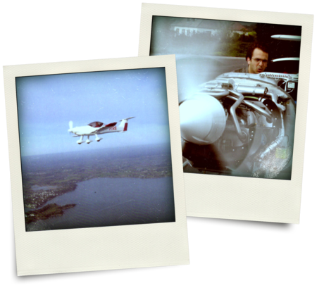 Two polaroid photos showing a two-seater airplane and Vivien Hériard-Dubreuil, Microdrones president, doing tests on a plane engine.