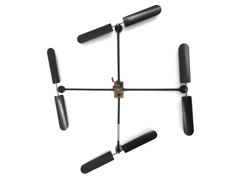 The first prototype of a drone created by Udo Jür?, founder of Microdrones.