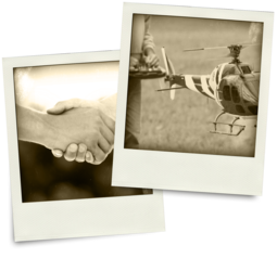 Sepia-tone polaroids of shaking hands and a RC helicopter.