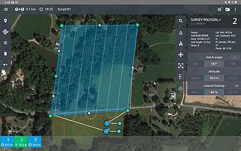 Microdrones mdCockpit tablet app screenshot survey area planning