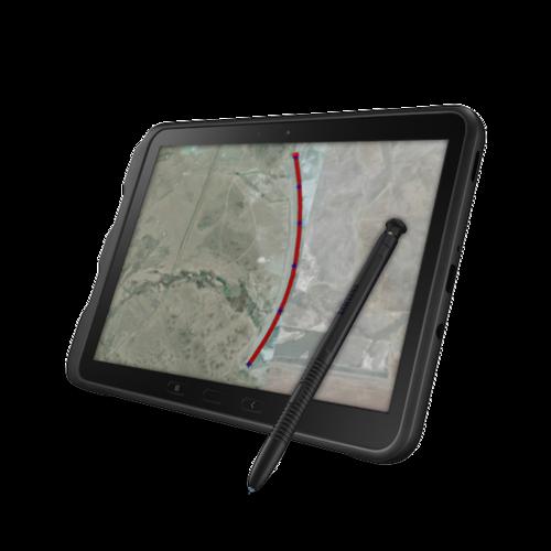 Screenshot of a corridor mapping job, using Microdrones mdCockpit app running on a Samsung tablet